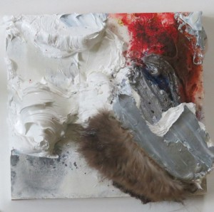 At first an occasion rather than a friend, oil, pastel and repurposed fur on wood, 6x6x3 inches, 2014