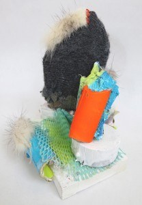 Like that of the toes of a missing leg, oil, repurposed fur wool, plastic, wood, , 7x4x5 inches, 2014