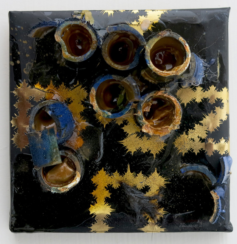 Perhaps one should never put one's worship into words, acrylic, oil, resin, wood on paper and wood, 6x6x4 inches, 2013