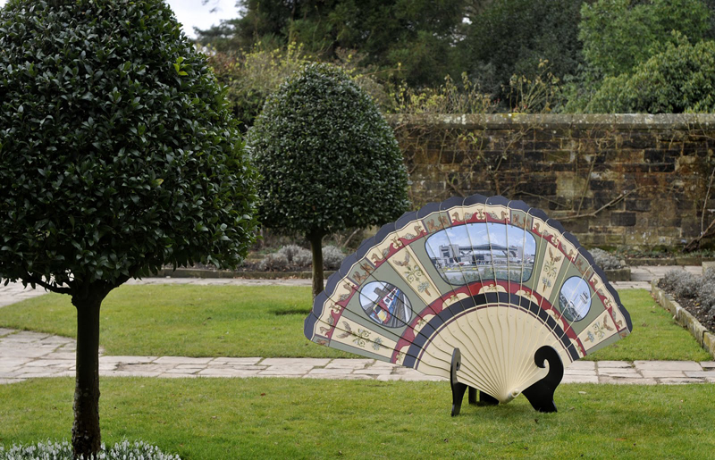 Grand Tour Fan, 4' x 6', sintra, paint, hardware and wood, 2012, site-specific project at Nymans House and Gardens in Sussex, England