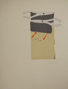 Needle-Nose, 2013, Graphite and acrylic paint on mounted graph paper 28 x 22
